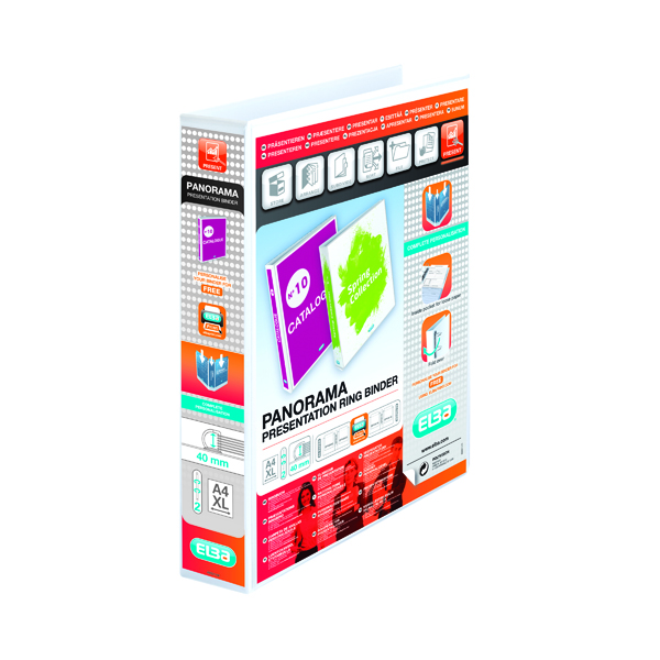Elba Panorama 40mm 2 D-Ring Presentation Binder A4 White (Pack of 6) 400008505