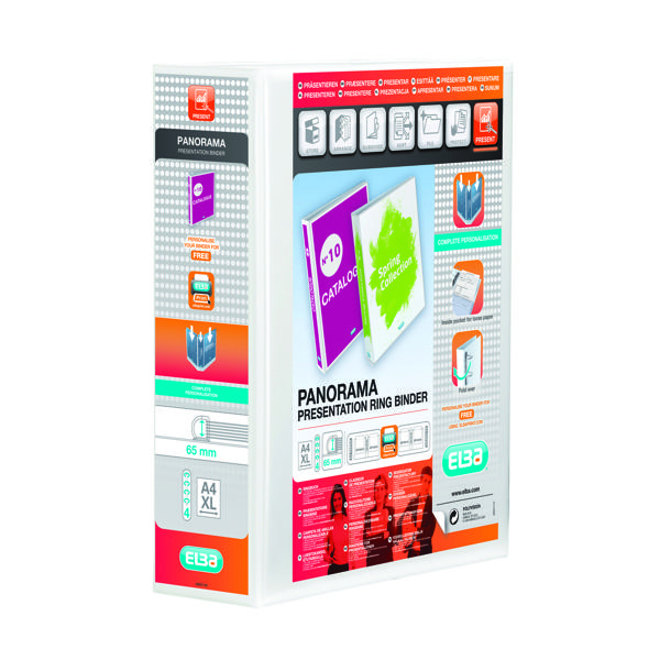 Elba Panorama 65mm 4 D-Ring Presentation Binder A4 White (Pack of 4) 400008673