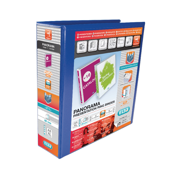 Elba Panorama 65mm 4 D-Ring Presentation Binder A4 Blue (Pack of 4) 400008675