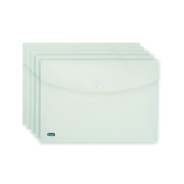 5 x Elba Snap Wallet A4 Clear (Durable polypropylene wallets) 100080924