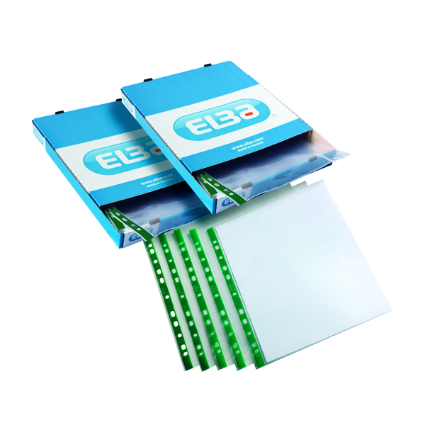 Elba Clear Punch Pocket A4 Green (Pack of 100) 2 For 1 BX810443