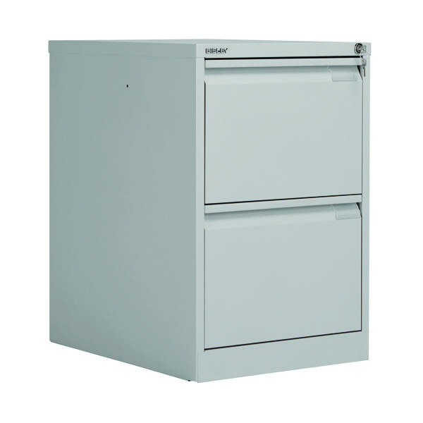 Bisley 2 Drawer Filing Cabinet Flush Fronted Goose Grey BS2EGY