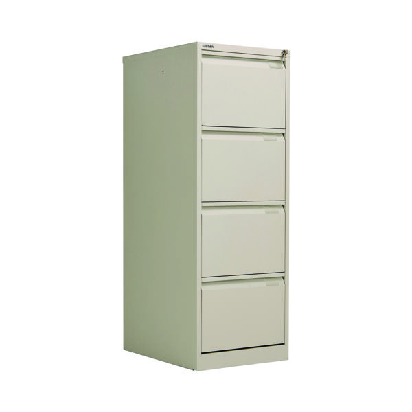 Bisley 4 Drawer Filing Cabinet Flush Fronted Goose Grey BS4EGY