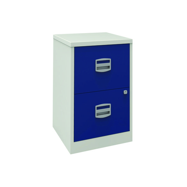 Bisley 2 Drawer A4 Home Filer Grey/Blue (Dimensions: W413  x D400 x H6972mm) PFA2-8748