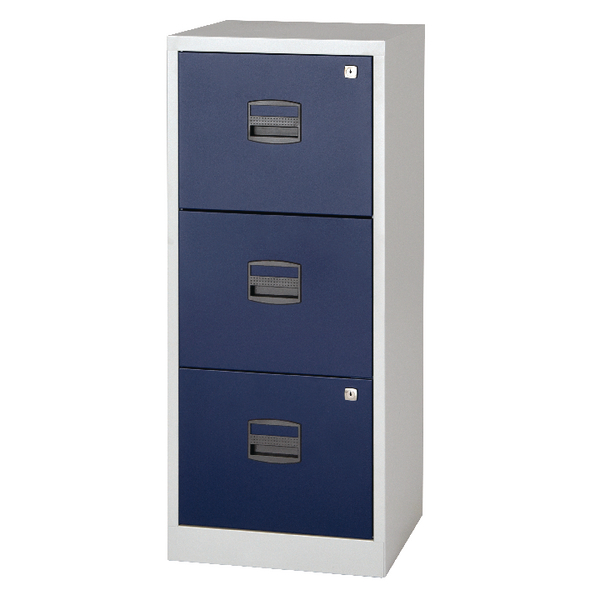 Bisley 3 Drawer A4 Home Filer Grey/Blue BY78727