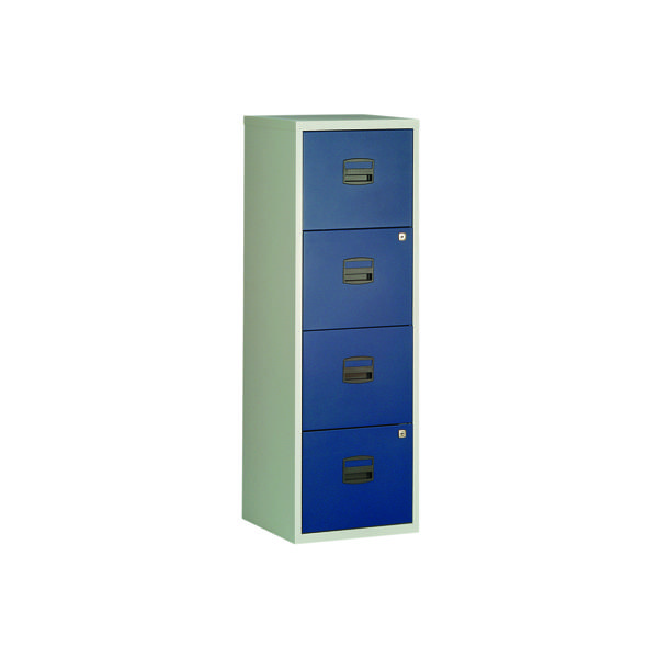 Bisley 4 Drawer A4 Home Filer Grey/Blue BY78729
