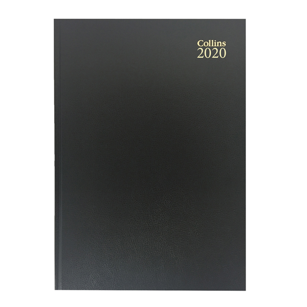 Collins Desk Diary A4 Week to View 2020 Black (Cased in durable leathergrain with page marker) 40