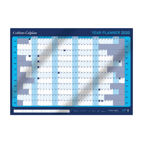 Collins 594 x 840mm 12 Month 2020 Year Planner (Wipe clean surface) CWC9