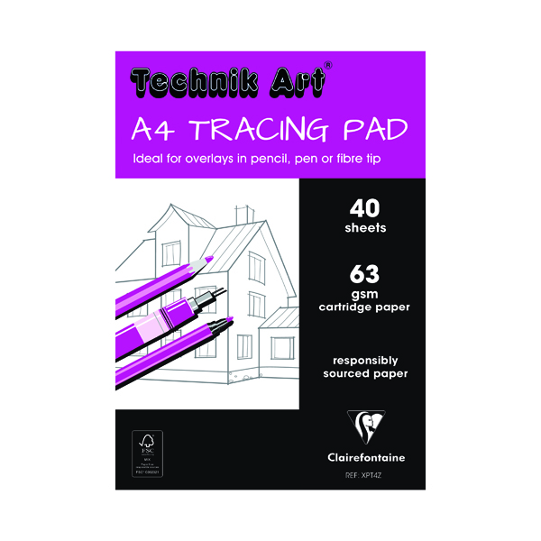 Clairefontaine Technik Art Tracing Pad 63gsm A4 40 Sheets XPT4