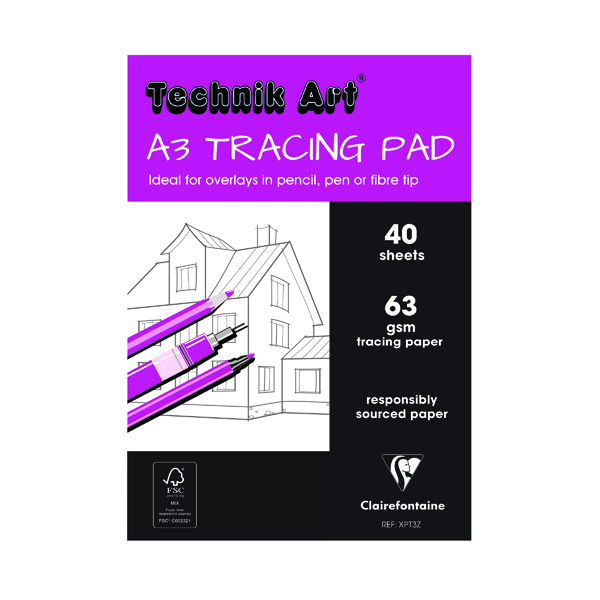 Clairefontaine Technik Art Tracing Pad 63gsm A3 40 Sheets XPT3