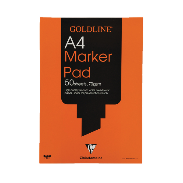 Clairefontaine Goldline A4 50 Sheet 70gsm Acid-Free Bleedproof Paper Marker Pad GPB1A4