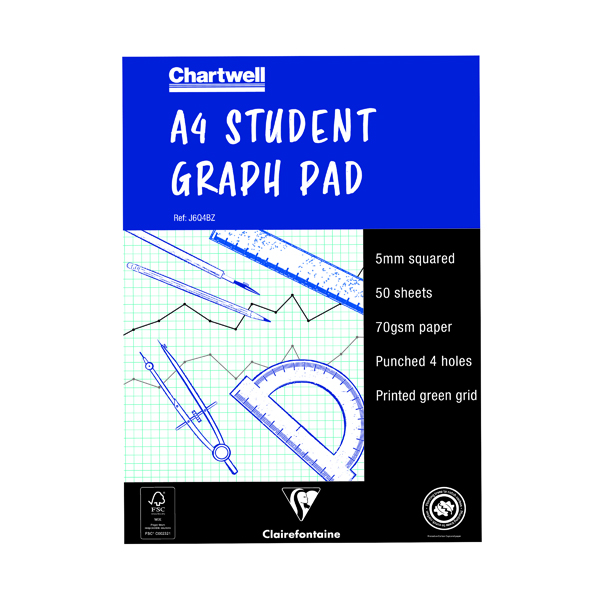 Clairefontaine Chartwell 5mm Quadrille Student Graph Pad A4 J6Q4B