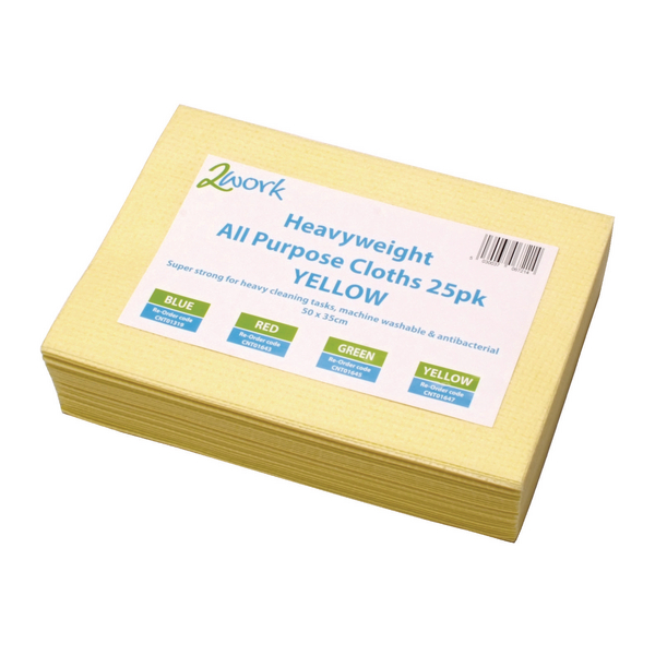 2Work Heavyweight Cloth 400x400mm Yellow (Pack of 25) 103278