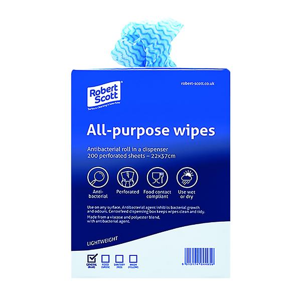 Blue Antibacterial Cloth Box 220 x 370mm (Pack of 200) 100247BU