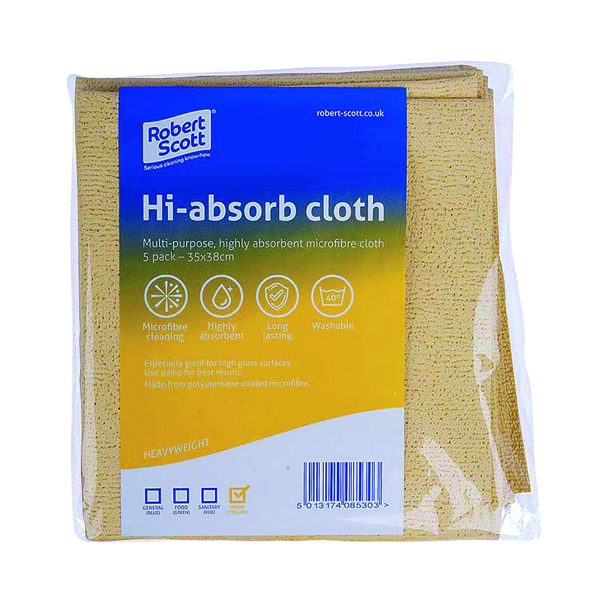 Robert Scott Hi-Absorb Microfibre Cloth Yellow (Pack of 5) 103986YELLOW