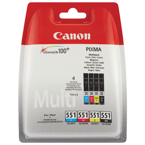 Canon CLI-551 CMYK Ink Cartridge Multipack 6509B009