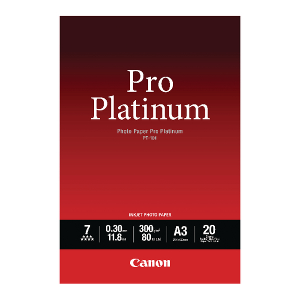 Canon PT-101 Pro A3 Platinum Photo Paper (Pack of 20) 2768B017