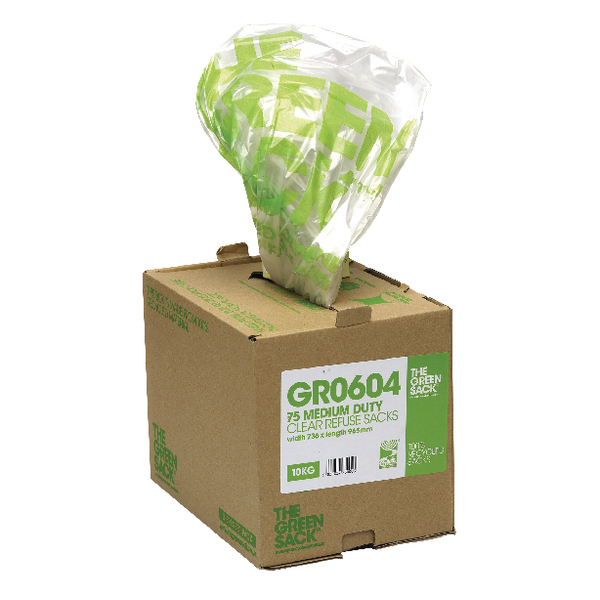 The Green Sack Refuse Bag in Dispenser Clear (Pack of 75) GR0604