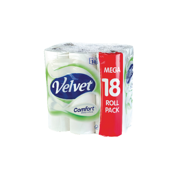 18 x Velvet Comfort Toilet Roll (2-ply tissue, 200 sheets per roll) KSCATV18