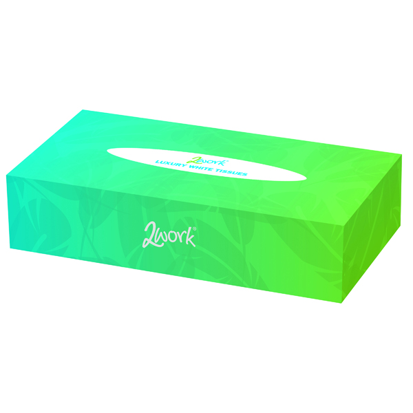 2Work Facial Tissues Box 100 Sheets (Pack of 36) KMA FTW136