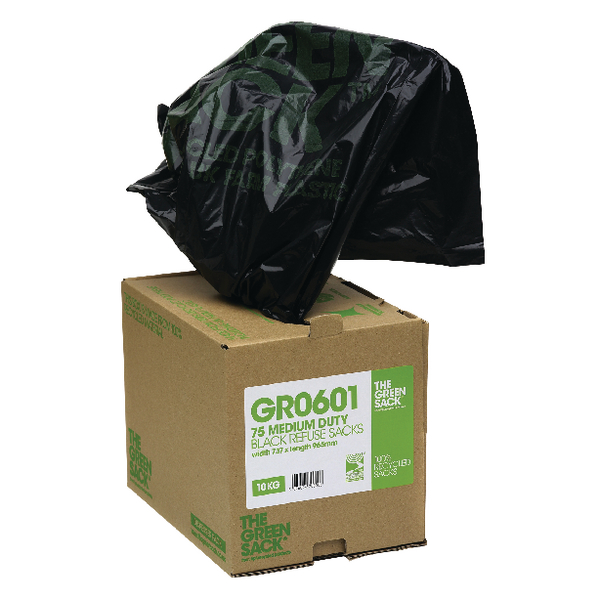 The Green Sack Heavy Duty Refuse Bag in Dispenser Black (Pack of 75) GRO601