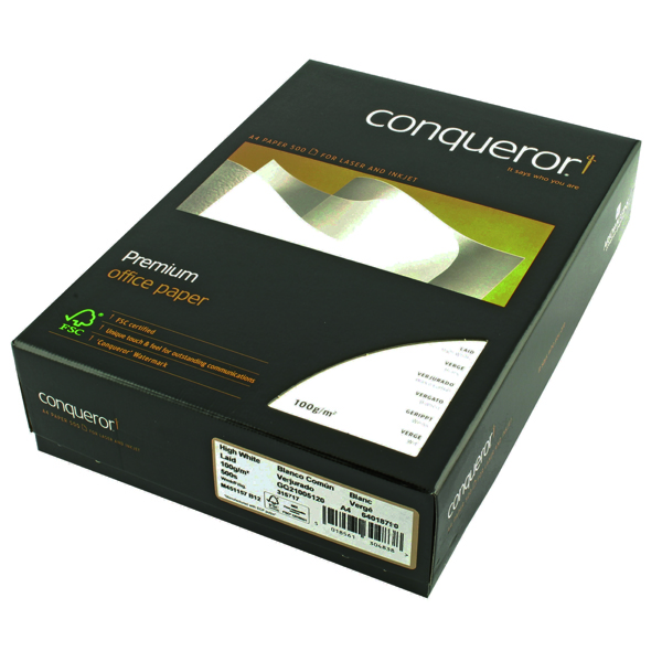 Conqueror Paper Laid High A4 White 100gsm Ream (Pack of 500) CQP0324HWNW