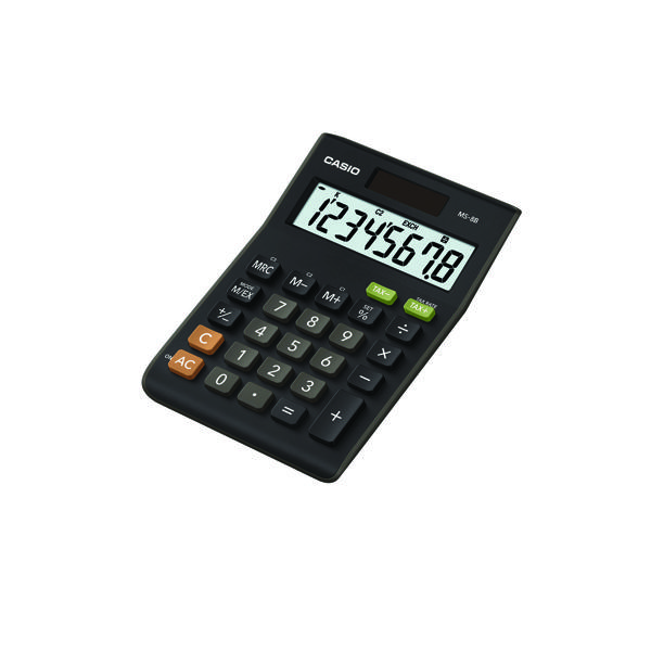 Casio 8-Digit Tax and Currency Calculator Black MS-8B