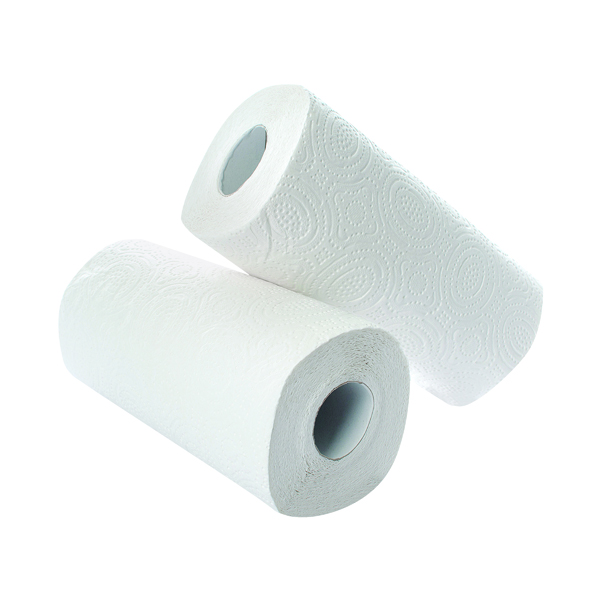 2Work Kitchen Roll (Pack of 2) x12 White CT73665