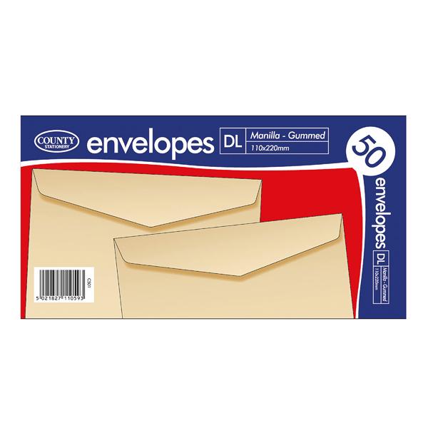 County Stationery DL Manilla Gummed Envelopes  (Pack of 1000) C501