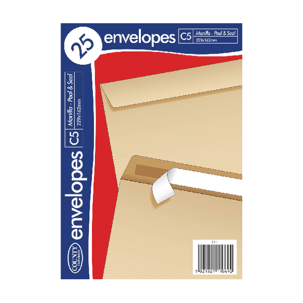 County Stationery C5 25 Manilla Peal and Seal Envelopes (Pack of 20) C511