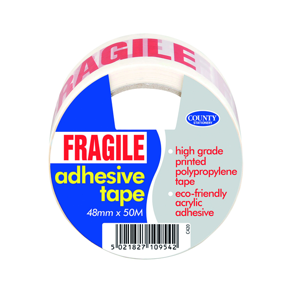 County Adhesive Tape Printed Fragile (Pack of 6) C420