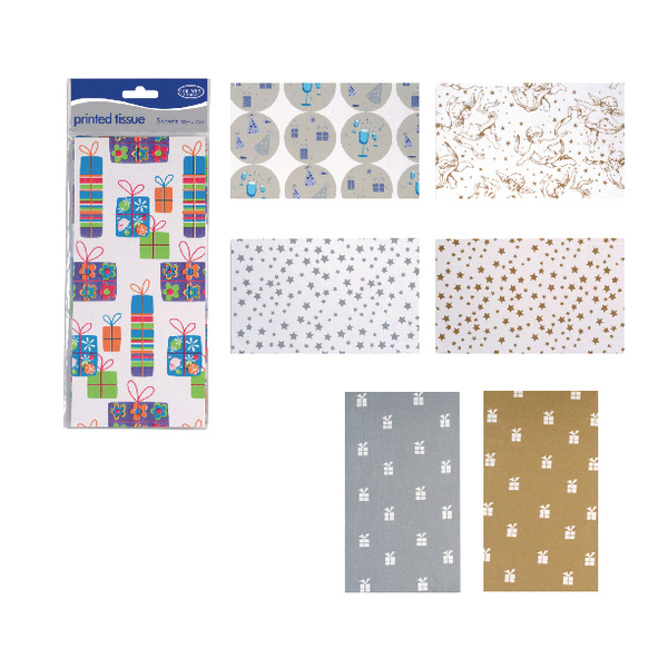 County Stationery  Printed Tissue Assorted Designs (Pack of 60) C195