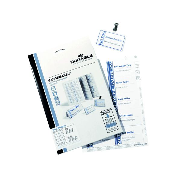 Durable Badgemaker Inserts 54x90mm (Pack of 200) 1455/02