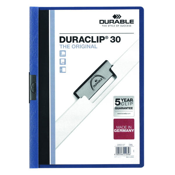 Durable 3mm Duraclip File A4 Dark Blue (Pack of 25) 2200/07