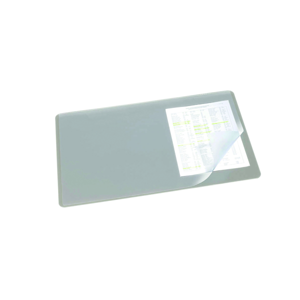 Durable Desk Mat with Transparent Overlay 530 x 400mm Grey 720210
