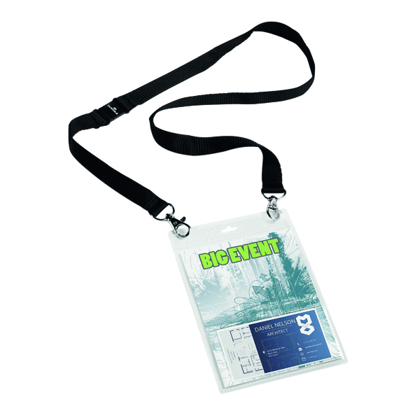 Durable A6 Name Badge with Textile Necklace (Pack of 10) 852501