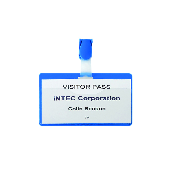 Durable Visitor Badge with Strap 60x90mm Blue (Pack of 25) 8147/06