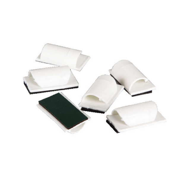D-Line Cable Tidy clips 6Pk White Self Adhesive (Pack of 6) CTCLIPS6AW