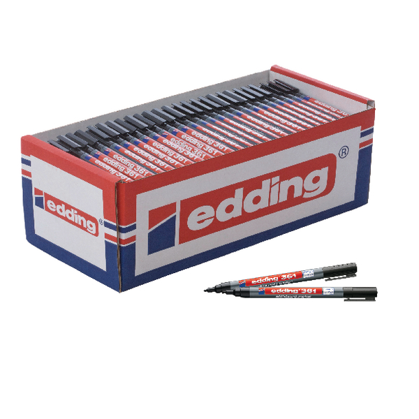 Edding 361 Drywipe Marker Black (Pack of 200) CP40