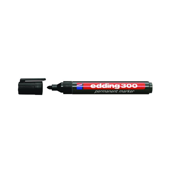 Edding 300 Permanent Bullet Tip Marker Black (Pack of 10) 300-001