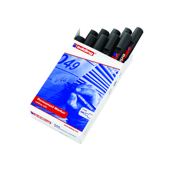 Edding 330 Permanent Chisel Tip Marker Black (Pack of 10) 330-001
