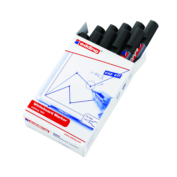 Edding 360 Drywipe Marker Black (Pack of 10) 4-360001