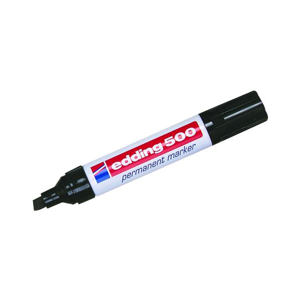 Edding 500 Chisel Tip Permanent Marker Large Black (Pack of 10) 500-001