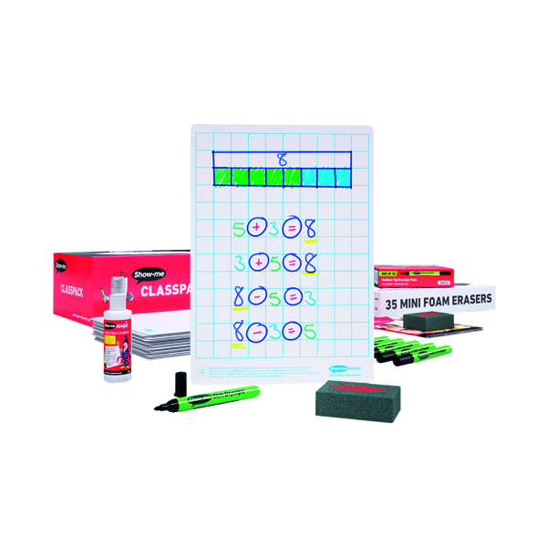 35 x Show-me Whiteboard A4 Gridded (Double side tape, one side plain, one side gridded) C/SQB