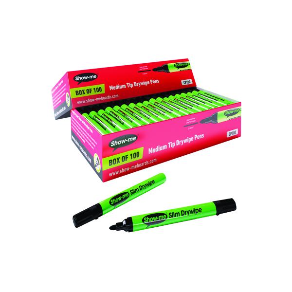 Show-me Drywipe Marker Medium Tip Black (Pack of 100) CP100