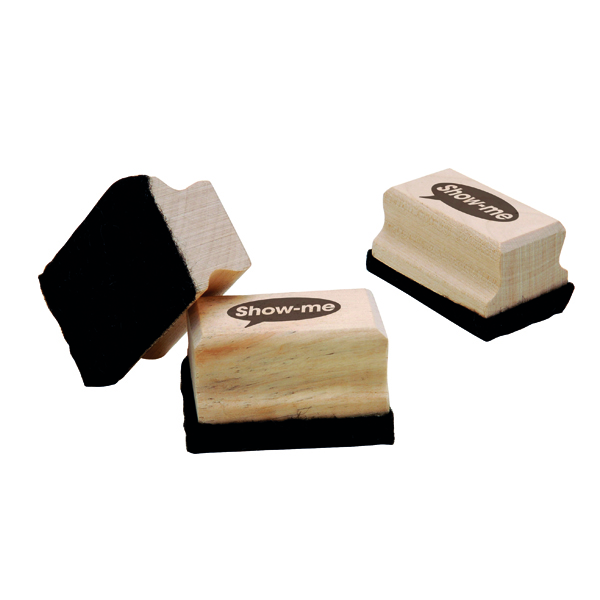 Show-me Mini Wooden Handled Felt Whiteboard Eraser (Pack of 30) WME30