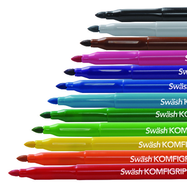 Swash KOMFIGRIP Colouring Pen Broad Tip Assorted (Pack of 12) TW12BD