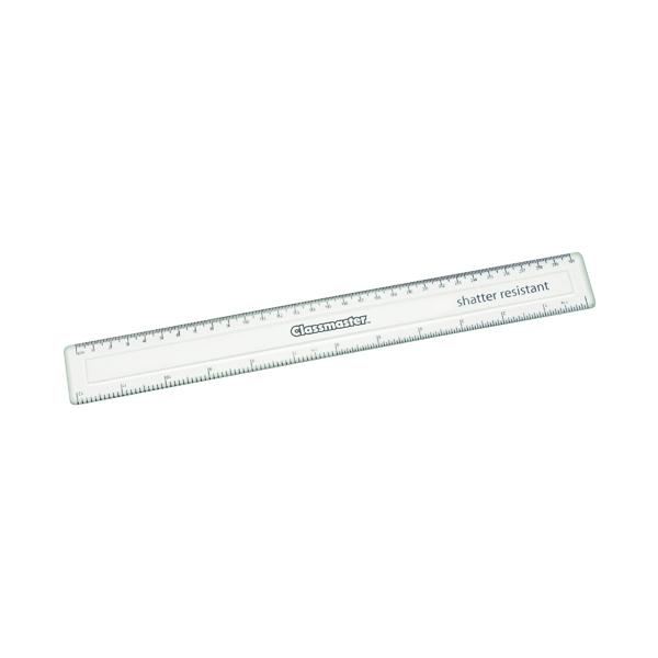 Classmaster Shatter Resistant Ruler 30cm Clear (Pack of 100) SPR30100