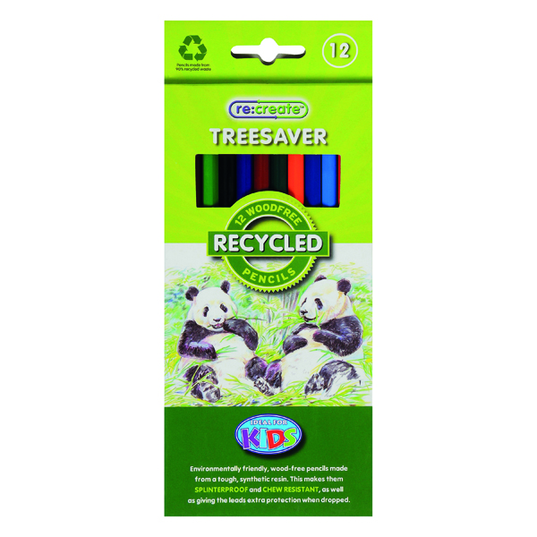 ReCreate Treesaver Recycled Colouring Pencils (Pack of 12) TREE12COL