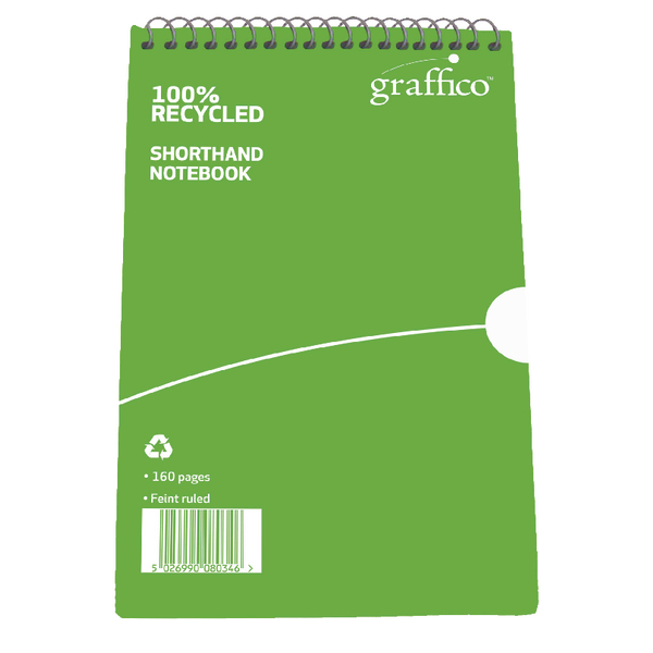 Graffico Recycled Shorthand Notebook 160 Pages 203x127mm 9100037